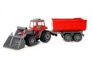 Traktor med frontlastare och släpvagn
